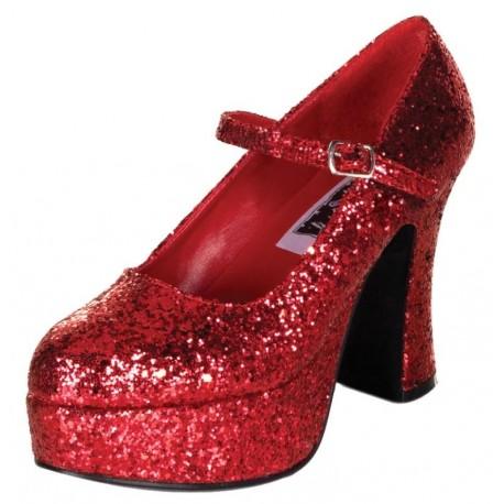 Chaussures à paillettes rouges femme