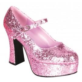 Chaussures à paillettes roses femme