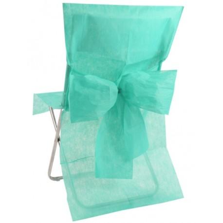 Housse de chaise intissé menthe avec noeud les 10