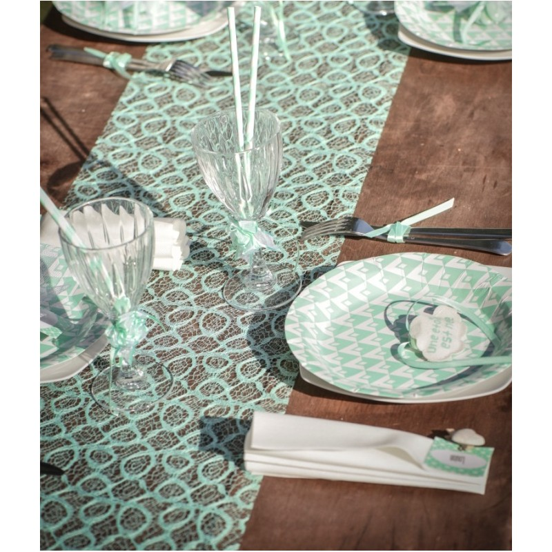 Chemin de table dentelle menthe 5 m for Chemin de table plastique