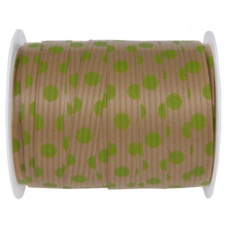 Bolduc kraft naturel à pois vert anis 10 mm x 25 M