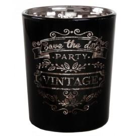 Photophore vintage noir en verre les 12