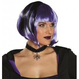 Perruque courte violette et noire femme