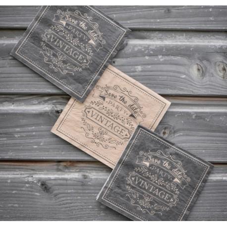 Serviette de table vintage kraft naturel et noir papier les 20