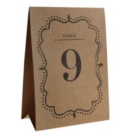 Numéro de table vintage kraft de 1 à 10 les 10