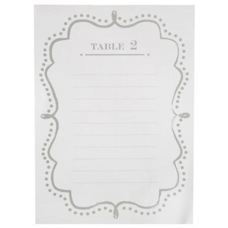 Plan de table vintage blanc de 1 à 10 les 10