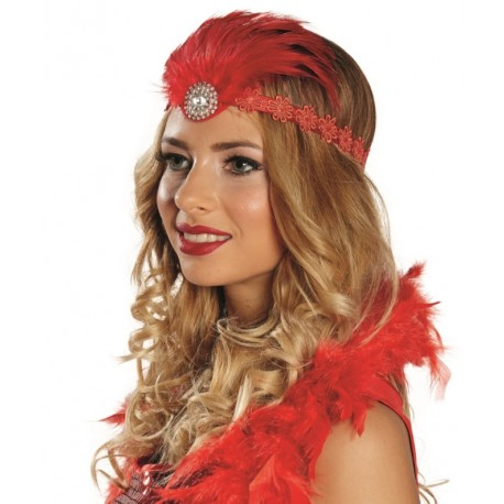 Bandeau charleston rouge femme avec plumes