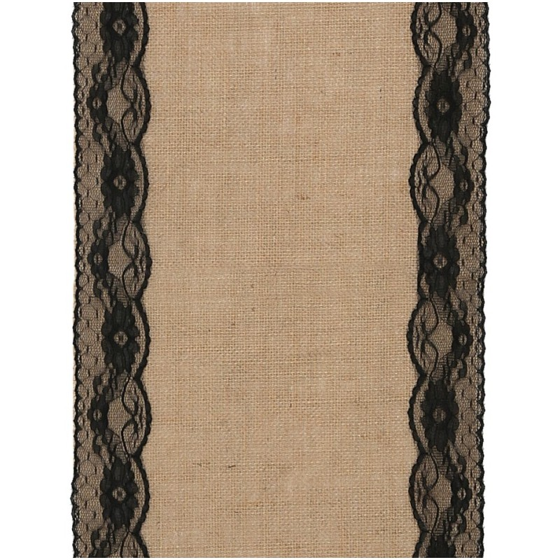 chemin de table toile de jute dentelle noire 2 m. Black Bedroom Furniture Sets. Home Design Ideas