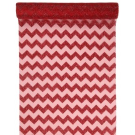 Chemin de table chevron rouge pailleté 5 M