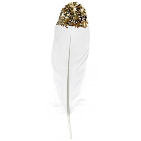 Plume blanche avec paillettes or 16 cm les 6