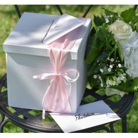 Tirelire blanche carton 20 cm mariage et fêtes