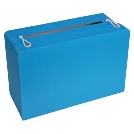 Tirelire valise turquoise en carton 24 cm