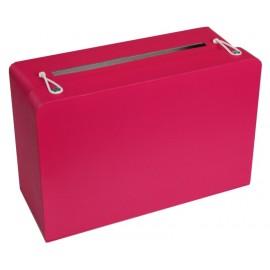 Tirelire valise fuchsia en carton 24 cm
