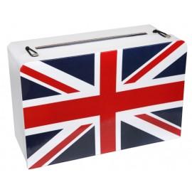 Tirelire valise Angleterre drapeau anglais en carton 24 cm