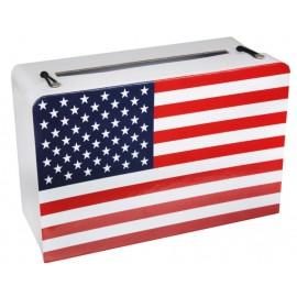 Tirelire valise drapeau américain USA en carton 24 cm