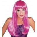 Perruque longue rose glamour femme