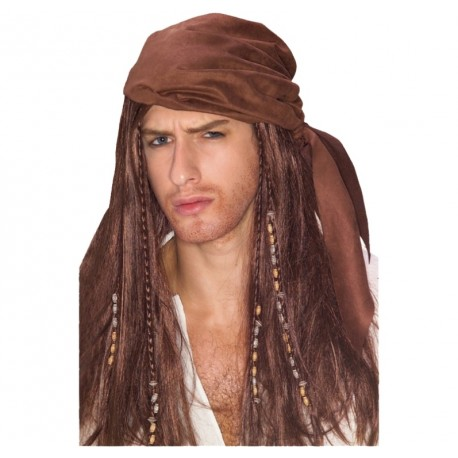 Perruque pirate des caraïbes homme luxe