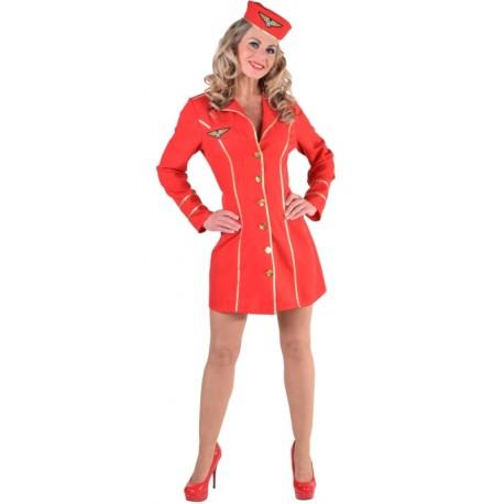 Déguisement hôtesse de l'air femme luxe rouge