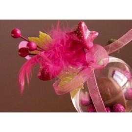 Déco Festive Plume, Noeud Organdi Sur Piquet les 4