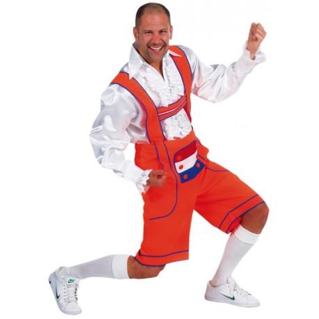 Déguisement pantalon tyrolien orange homme luxe