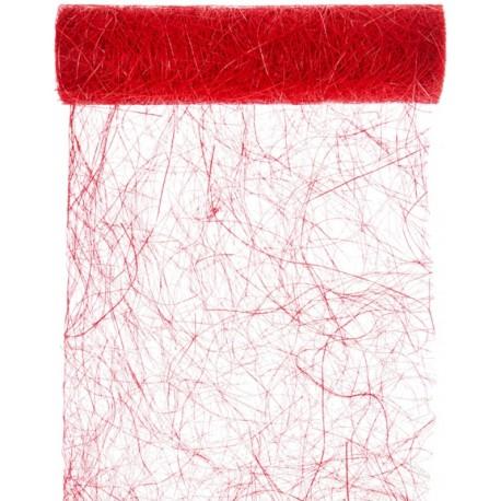 Chemin de table abaca rouge 5 M