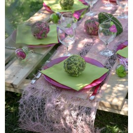 Chemin de table abaca rose 5 M
