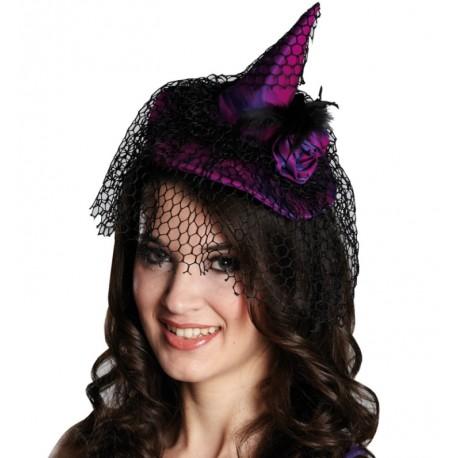 Mini chapeau sorcière violet et noir femme Halloween
