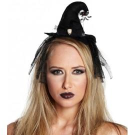 Mini chapeau sorcière noir femme Halloween