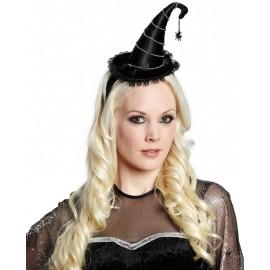 Mini chapeau sorcière noir femme Halloween luxe