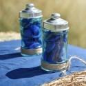 Pots à dragées pharmacie en verre turquoise les 20