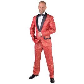 Déguisement smoking brocart rouge homme luxe