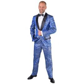 Déguisement smoking brocart bleu de cobalt homme luxe