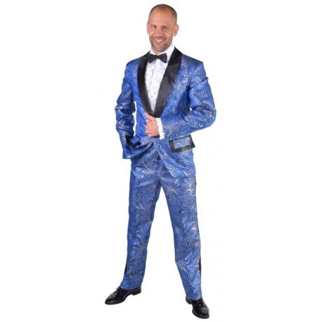 d guisement smoking brocart bleu de cobalt homme luxe. Black Bedroom Furniture Sets. Home Design Ideas