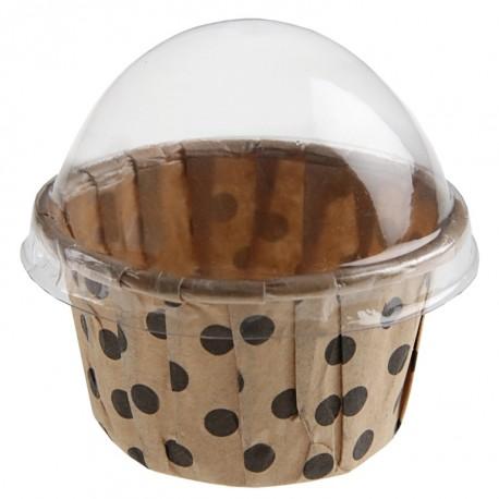 Boîte à dragées cupcake kraft à pois les 6