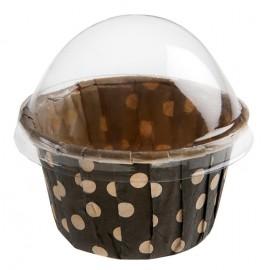 Boîtes à dragées cupcake ardoise (noir) à pois les 6