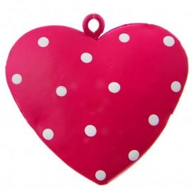 Coeur métal fuchsia à pois 4 cm les 4