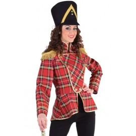 Déguisement veste harmonie écossaise rouge femme luxe