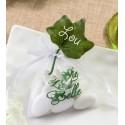 Sachets à dragées La vie est belle blanc vert les 6