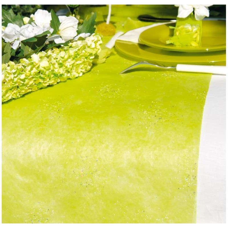 Chemin de table diamant vert anis achat chemin de table for Chemin de table plastique