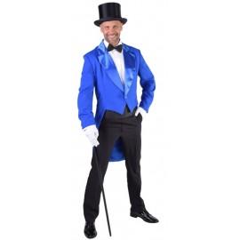 Déguisement queue de pie cabaret bleu cobalt homme luxe