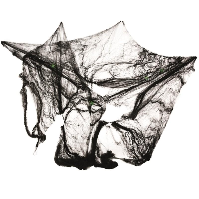 toile d 39 araign e noire et 4 araign es halloween 60 g halloween. Black Bedroom Furniture Sets. Home Design Ideas