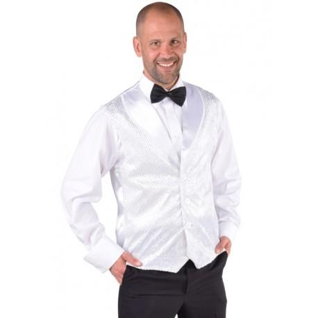 Déguisement gilet blanc à paillettes homme luxe