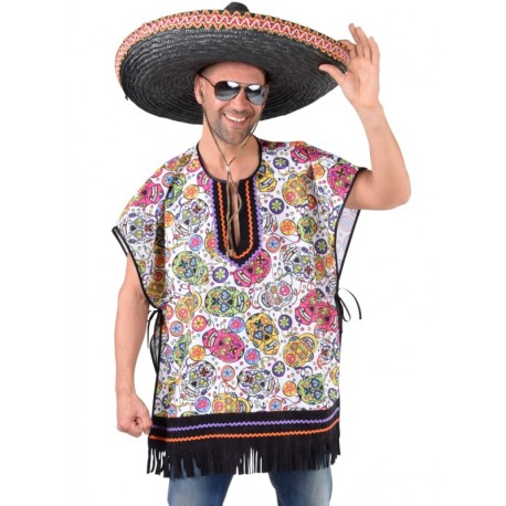 Déguisement poncho mexicain skull homme luxe