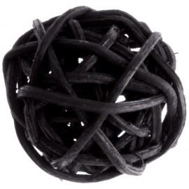 Boule rotin noir 3 cm les 12