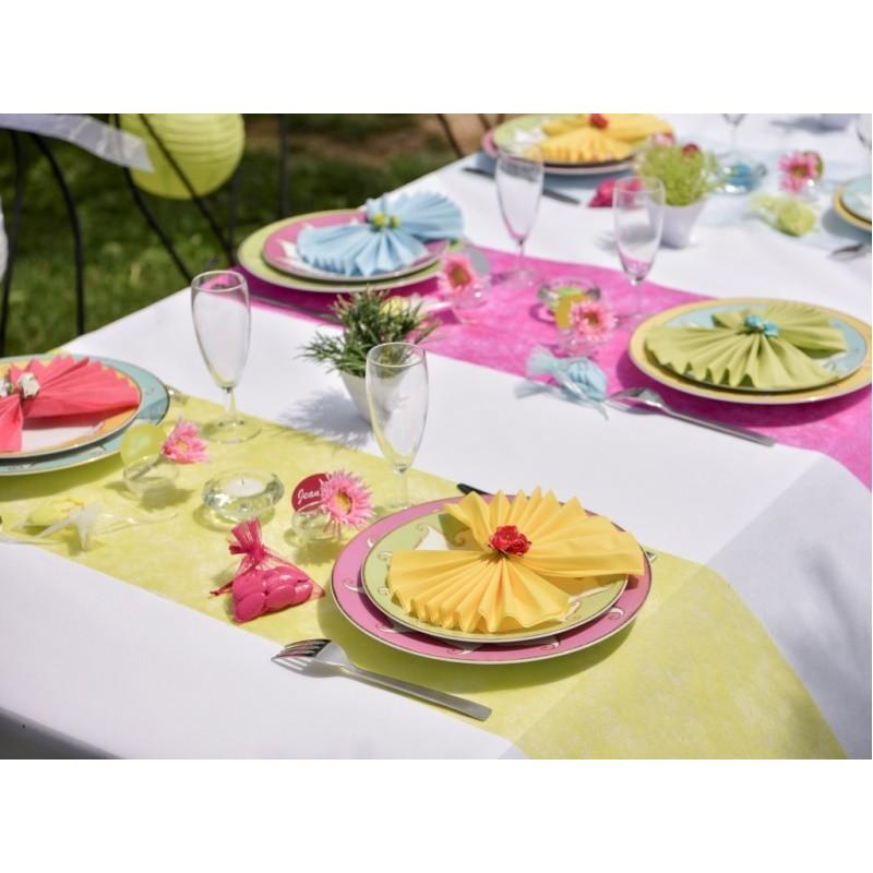 Chemin de table fanon turquoise achat chemin de table for Chemin de table turquoise