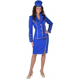 Déguisement hôtesse de l'air 1950 bleu cobalt femme luxe