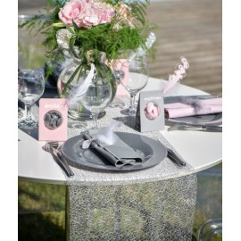 Chemin de table Grace gris 5 M
