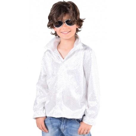 Déguisement chemise disco blanche à paillettes enfant