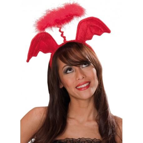 serre t te ailes d 39 ange et aur ole rouge adulte accessoire ange. Black Bedroom Furniture Sets. Home Design Ideas