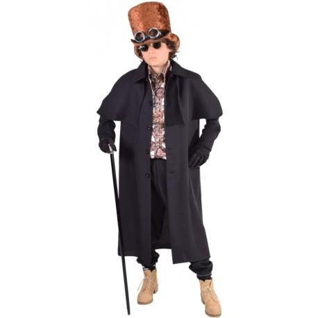 Déguisement manteau cocher steampunk garçon luxe noir